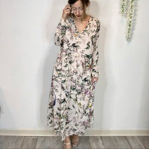 NWT H&M floral maxi dress v-neck long sleeves